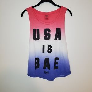 PINK USA IS BAE tank Red white and blue XS